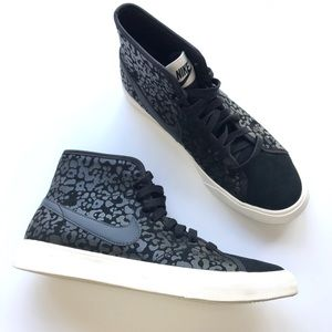 Nike Primo Court Mid Suede Trainers Black Leopard
